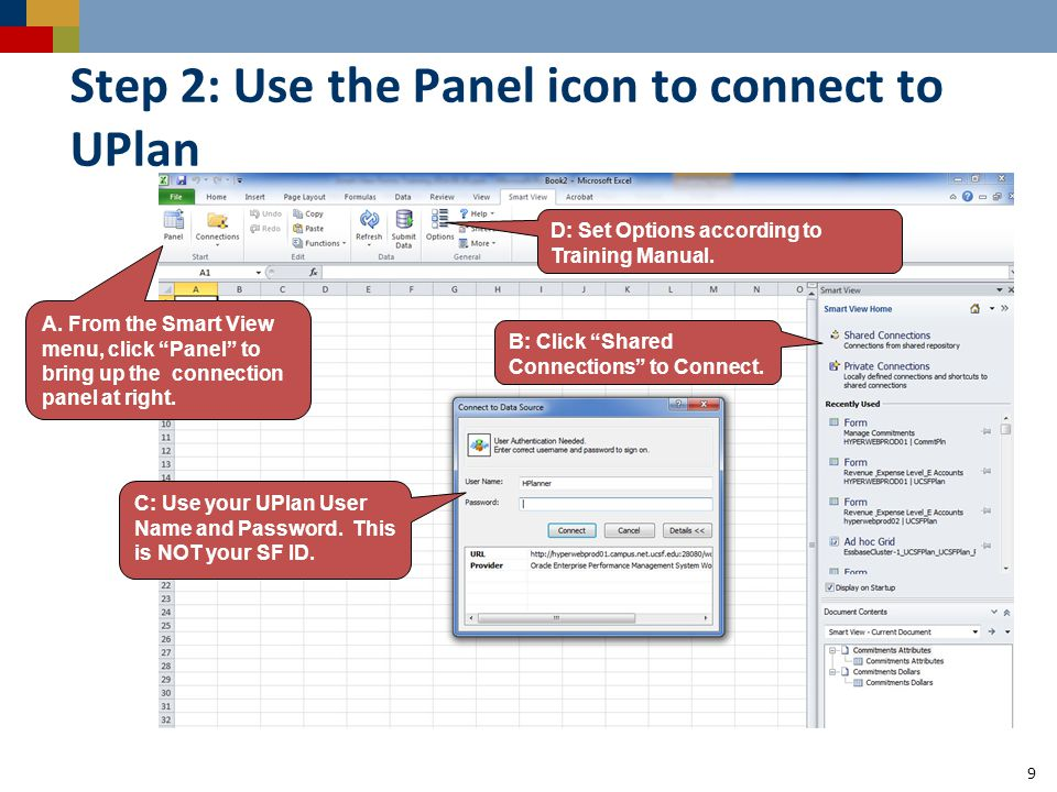 Step 2: Use the Panel icon to connect to UPlan 9 C: Use your UPlan User Name and Password. This is NOT your SF ID. A. From the Smart View menu, click