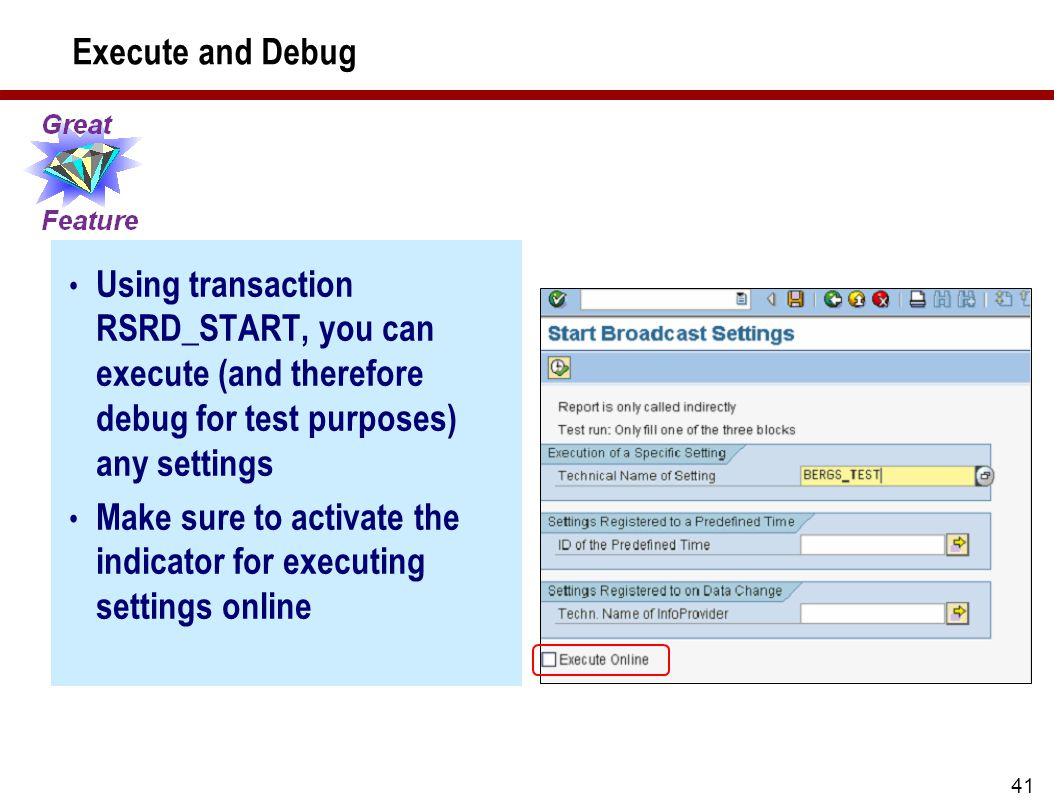 41 Execute and Debug Using transaction RSRD_START, you can execute (and therefore debug for test purposes) any settings Make sure to activate the indicator for executing settings online
