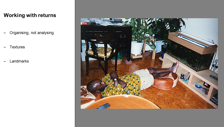 Working with returns – Organising, not analysing – Textures – Landmarks