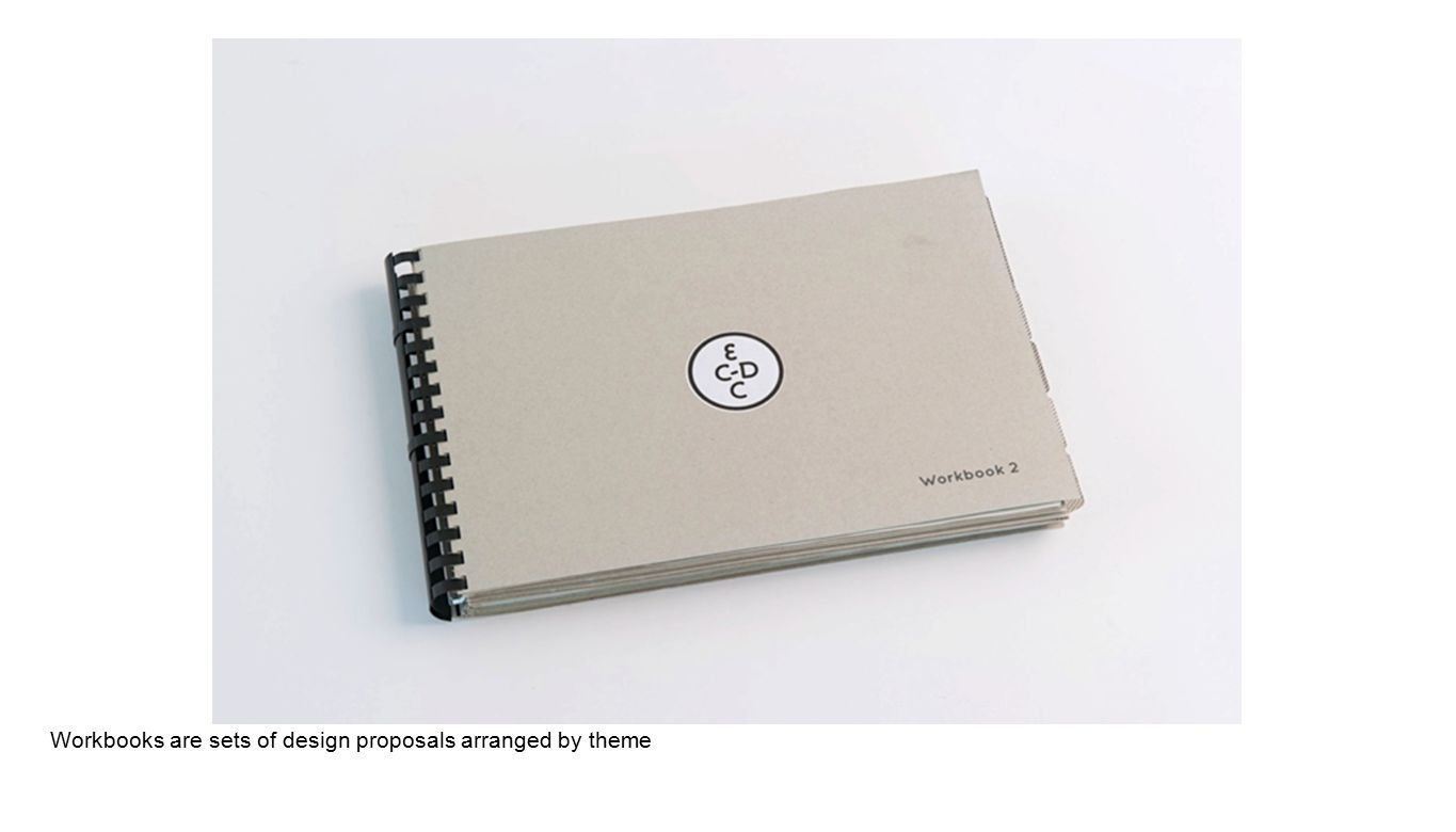 Workbooks are sets of design proposals arranged by theme
