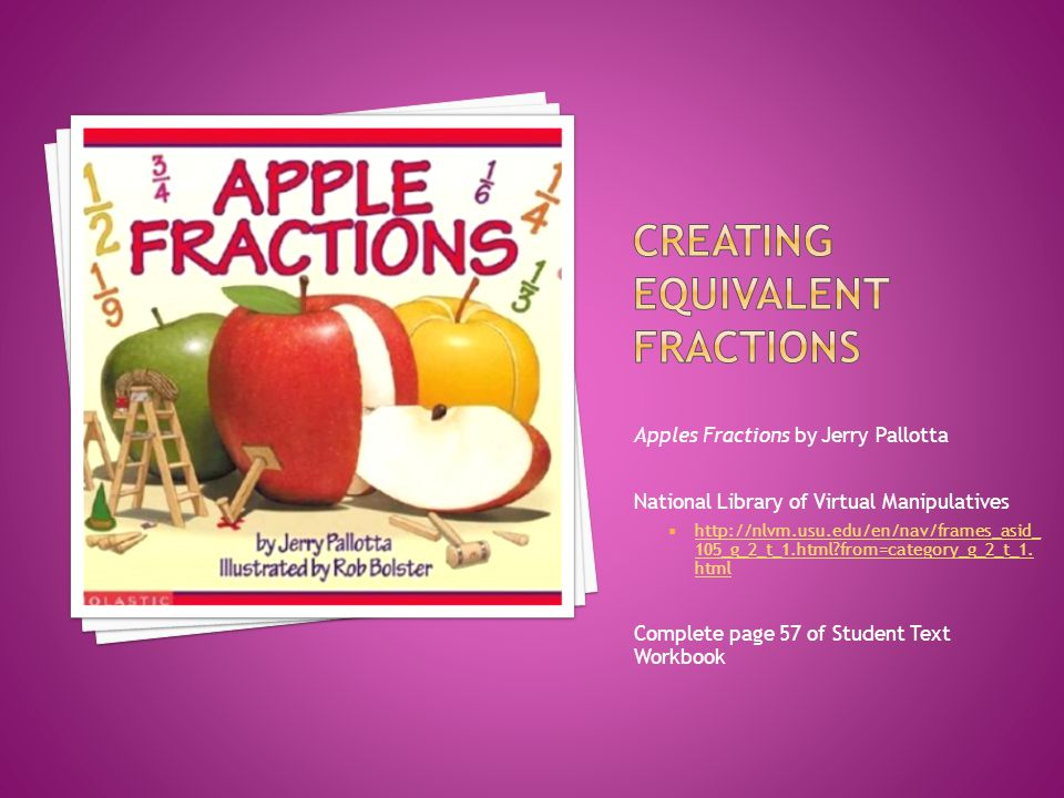 Apples Fractions by Jerry Pallotta National Library of Virtual Manipulatives  http://nlvm.usu.edu/en/nav/frames_asid_ 105_g_2_t_1.html?from=category_