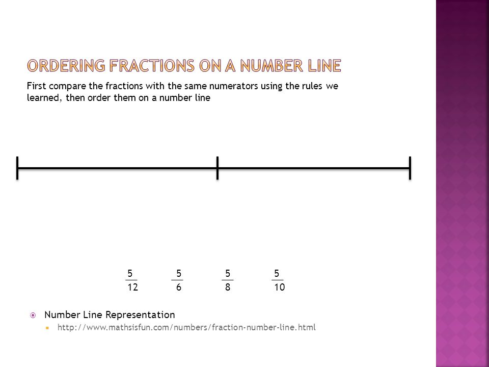 First compare the fractions with the same numerators using the rules we learned, then order them on a number line 5555 126810  Number Line Representa