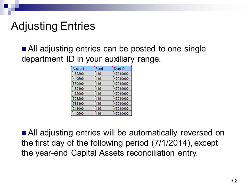 12 Adjusting Entries All adjusting entries can be posted to one single department ID in your auxiliary range. All adjusting entries will be automatica