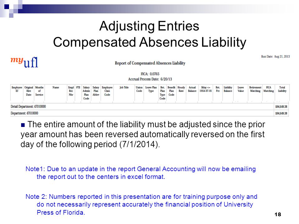 18 Adjusting Entries Compensated Absences Liability Note1: Due to an update in the report General Accounting will now be emailing the report out to th