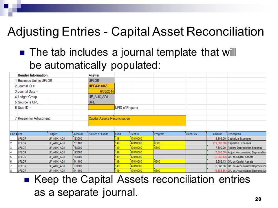20 Adjusting Entries - Capital Asset Reconciliation The tab includes a journal template that will be automatically populated: Keep the Capital Assets reconciliation entries as a separate journal.