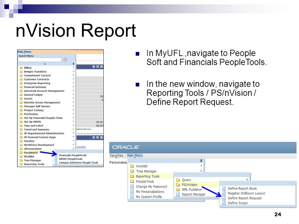 In MyUFL,navigate to People Soft and Financials PeopleTools. In the new window, navigate to Reporting Tools / PS/nVision / Define Report Request. 24