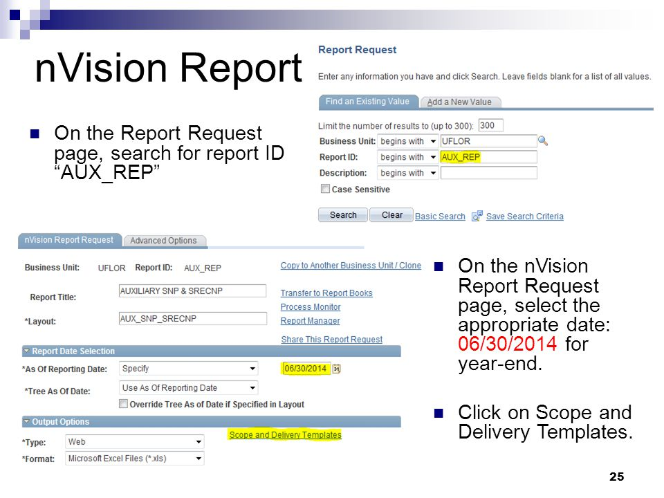 "nVision Report On the Report Request page, search for report ID ""AUX_REP"" 25 On the nVision Report Request page, select the appropriate date: 06/30/20"