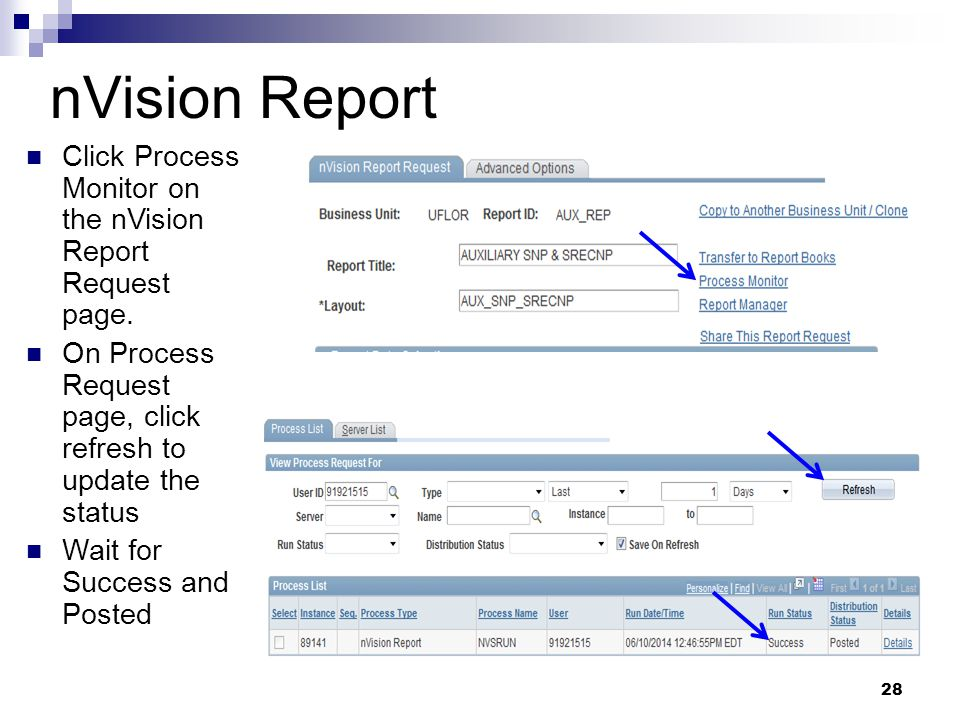 nVision Report Click Process Monitor on the nVision Report Request page. On Process Request page, click refresh to update the status Wait for Success