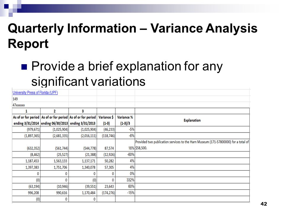 42 Quarterly Information – Variance Analysis Report Provide a brief explanation for any significant variations