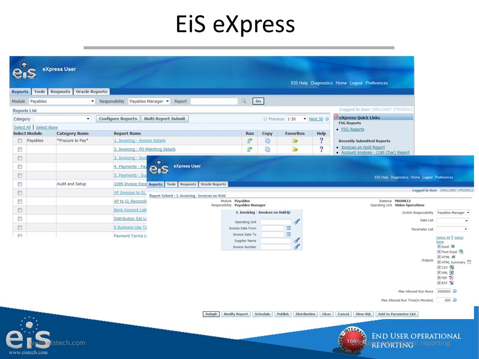 EiS eXpress www.eistech.comEnd user operational reporting