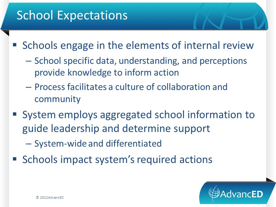 School Expectations  Schools engage in the elements of internal review – School specific data, understanding, and perceptions provide knowledge to in
