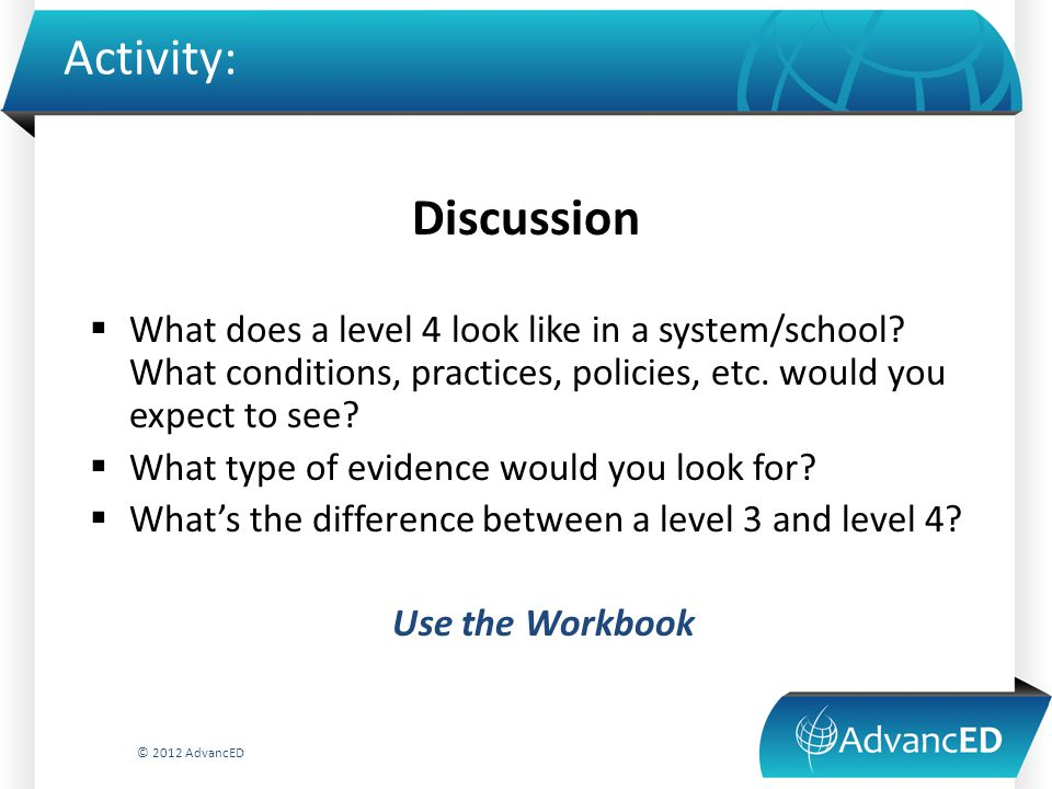 Activity: Discussion  What does a level 4 look like in a system/school.