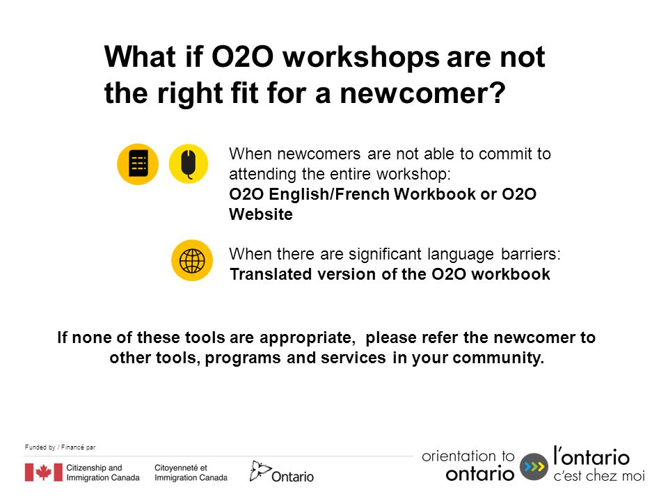 Funded by / Financé par If none of these tools are appropriate, please refer the newcomer to other tools, programs and services in your community. Wha