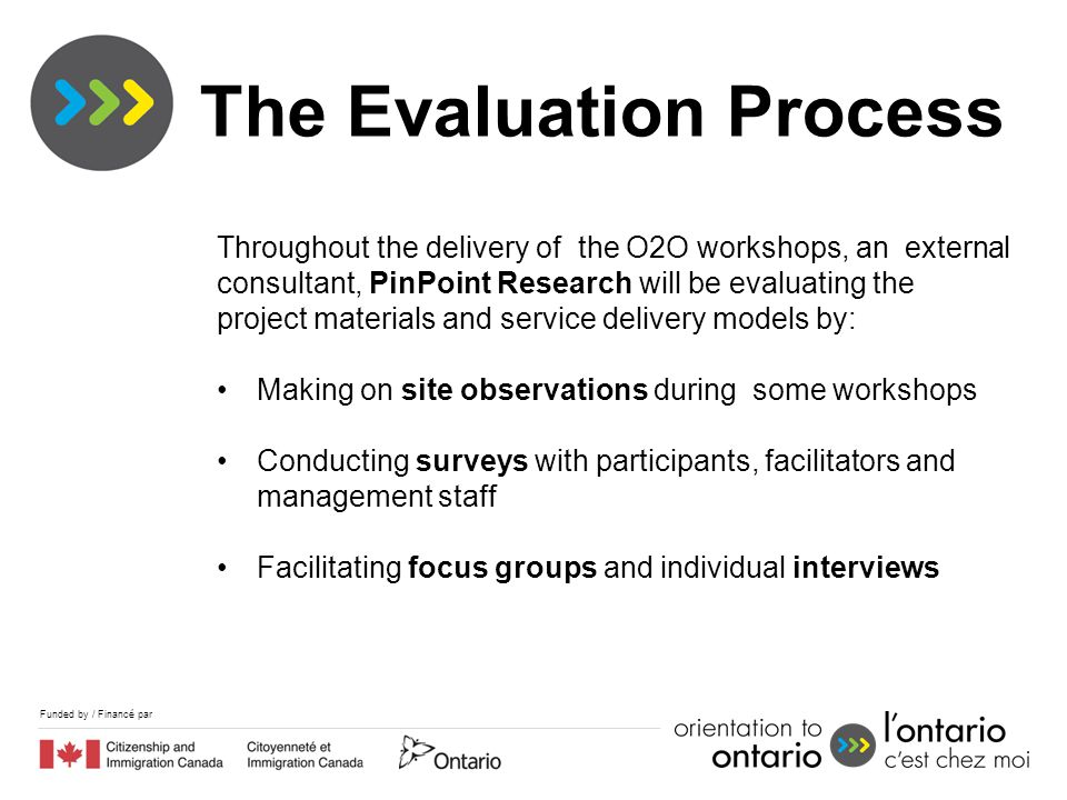 Funded by / Financé par Throughout the delivery of the O2O workshops, an external consultant, PinPoint Research will be evaluating the project materia