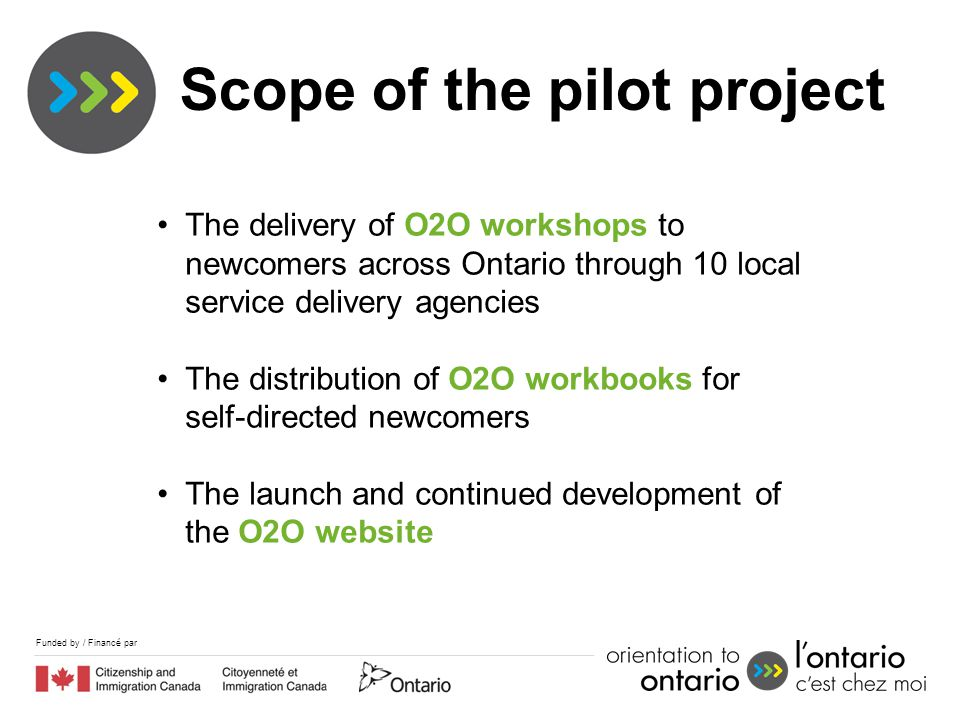 Funded by / Financé par The delivery of O2O workshops to newcomers across Ontario through 10 local service delivery agencies The distribution of O2O workbooks for self-directed newcomers The launch and continued development of the O2O website Scope of the pilot project
