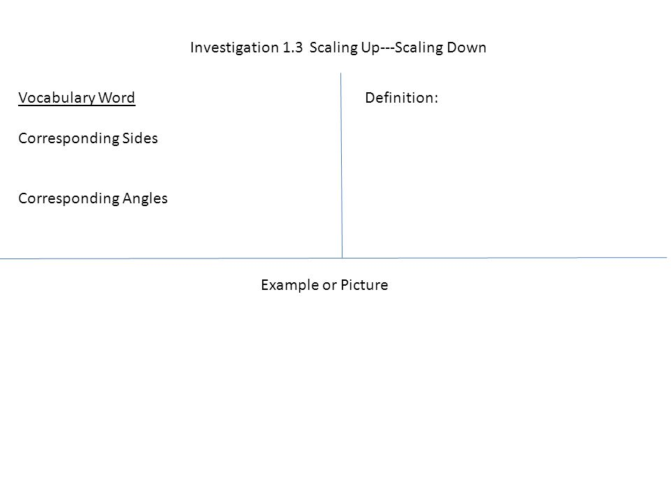 Investigation 1.3 Scaling Up---Scaling Down Vocabulary Word Corresponding Sides Corresponding Angles Definition: Example or Picture