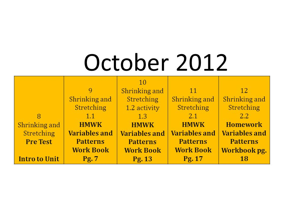 8 Shrinking and Stretching Pre Test Intro to Unit 9 Shrinking and Stretching 1.1 HMWK Variables and Patterns Work Book Pg.