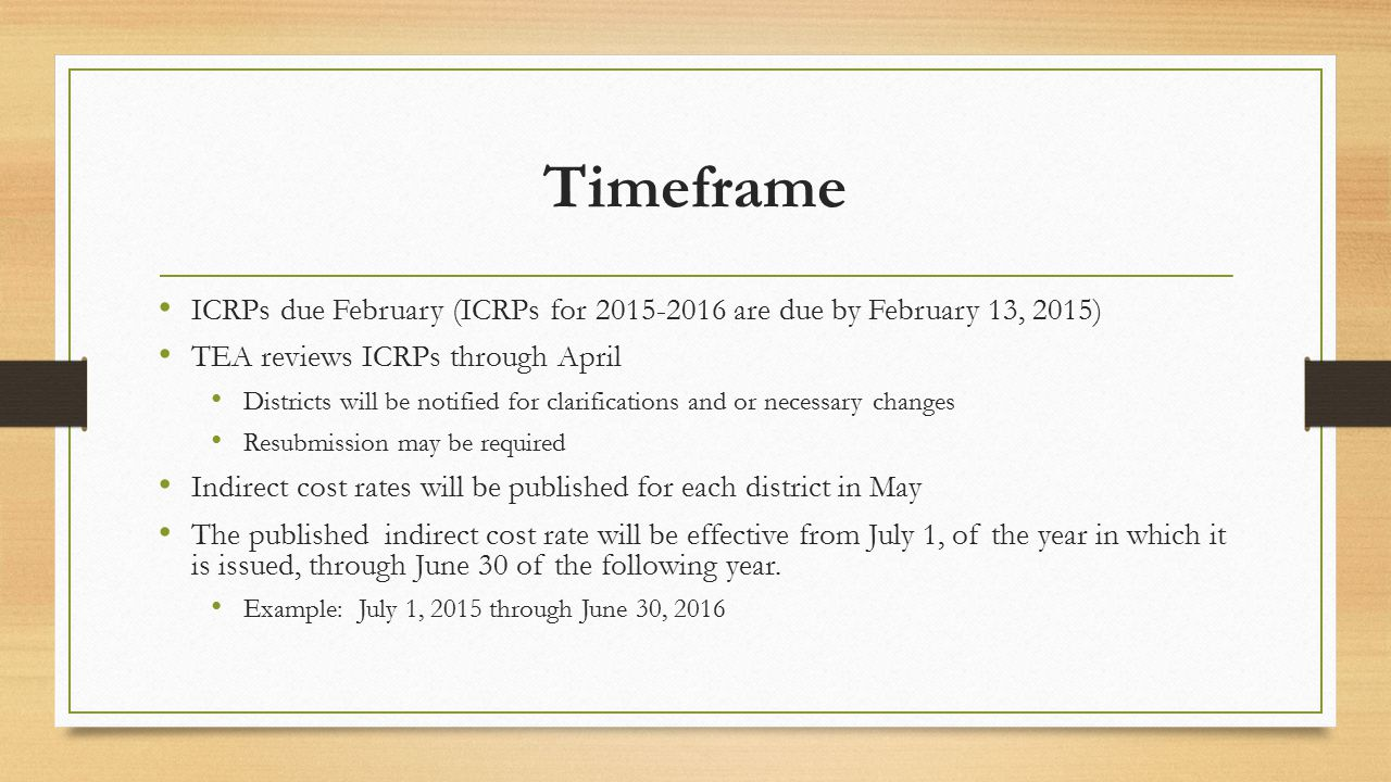 Timeframe ICRPs due February (ICRPs for 2015-2016 are due by February 13, 2015) TEA reviews ICRPs through April Districts will be notified for clarifi