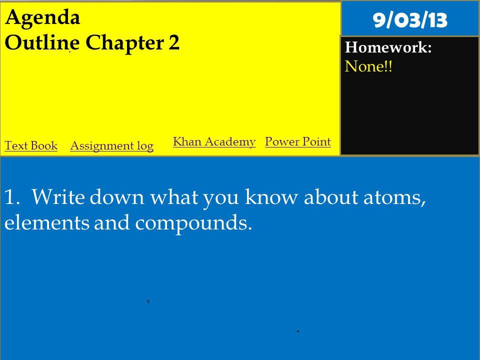 Agenda Outline Chapter 2 Homework: None!. 1.