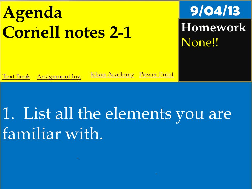 Agenda Cornell notes 2-1 Homework None!. 1. List all the elements you are familiar with.