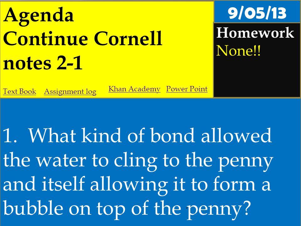 Agenda Continue Cornell notes 2-1 Homework None!. 1.