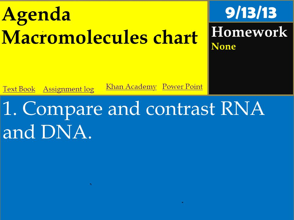 Agenda Macromolecules chart Homework None 1. Compare and contrast RNA and DNA.