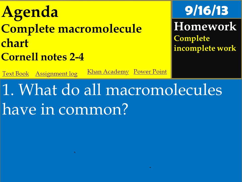 Agenda Complete macromolecule chart Cornell notes 2-4 Homework Complete incomplete work 1.