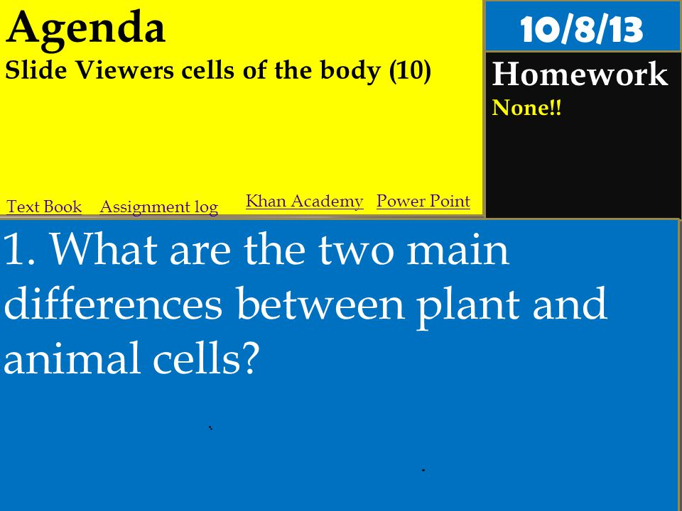 Agenda Slide Viewers cells of the body (10) Homework None!! 1. What are the two main differences between plant and animal cells? Assignment logText Bo