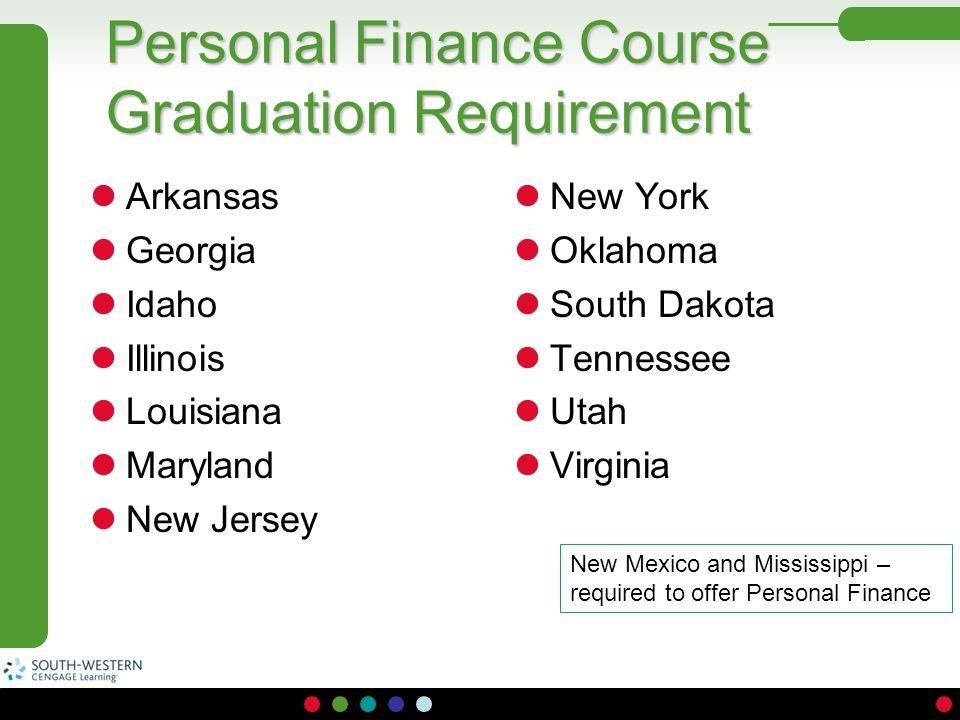 Personal Finance Course Graduation Requirement Arkansas Georgia Idaho Illinois Louisiana Maryland New Jersey New York Oklahoma South Dakota Tennessee