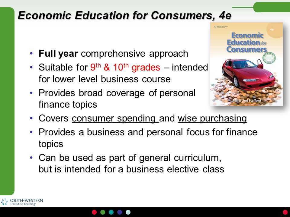 Economic Education for Consumers, 4e Full year comprehensive approach Suitable for 9 th & 10 th grades – intended for lower level business course Prov