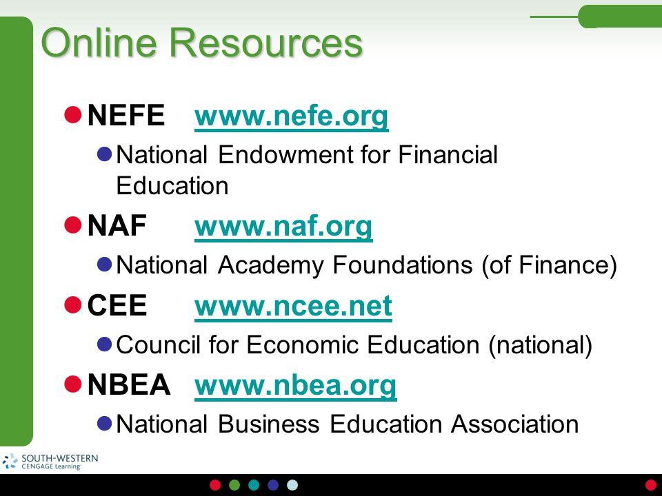 Online Resources NEFE www.nefe.orgwww.nefe.org National Endowment for Financial Education NAF www.naf.orgwww.naf.org National Academy Foundations (of