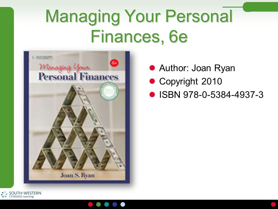 Managing Your Personal Finances, 6e Author: Joan Ryan Copyright 2010 ISBN 978-0-5384-4937-3