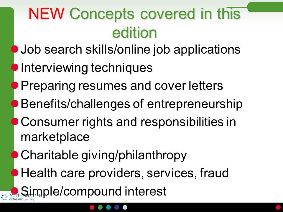 NEW Concepts covered in this edition Job search skills/online job applications Interviewing techniques Preparing resumes and cover letters Benefits/ch