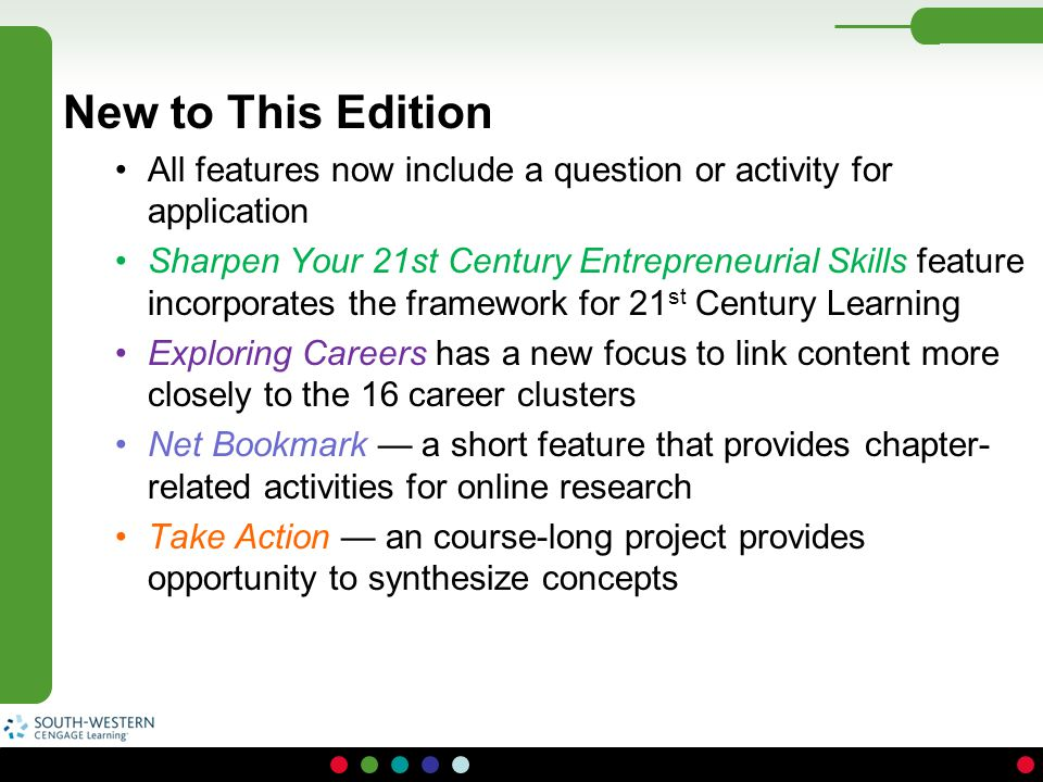 New to This Edition All features now include a question or activity for application Sharpen Your 21st Century Entrepreneurial Skills feature incorpora