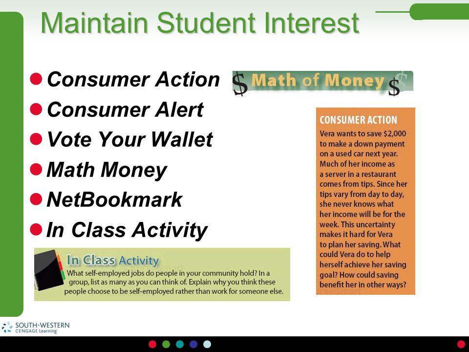 Maintain Student Interest Consumer Action Consumer Alert Vote Your Wallet Math Money NetBookmark In Class Activity