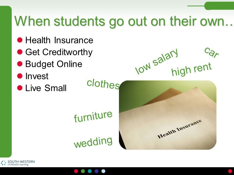 Health Insurance Get Creditworthy Budget Online Invest Live Small When students go out on their own… wedding high rent clothes low salary furniture ca
