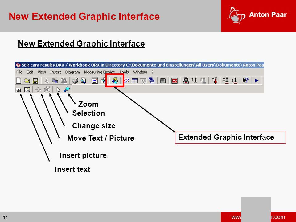17 New Extended Graphic Interface Extended Graphic Interface Insert text Insert picture Move Text / Picture Change size Selection Zoom