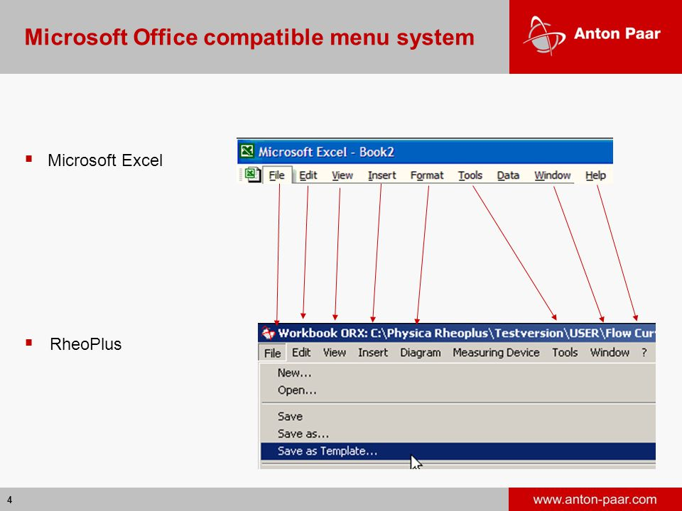 4  Microsoft Excel  RheoPlus Microsoft Office compatible menu system