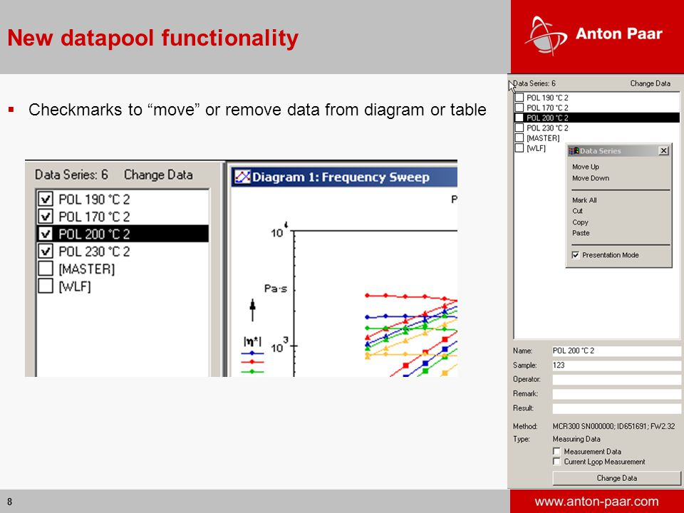"""8 New datapool functionality  Checkmarks to """"move"""" or remove data from diagram or table"""