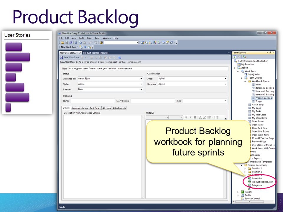Product Backlog Product Backlog workbook for planning future sprints