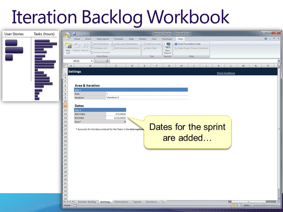 Iteration Backlog Workbook Dates for the sprint are added…
