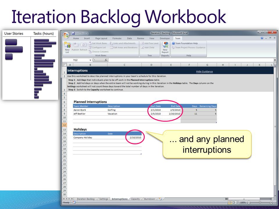 Iteration Backlog Workbook... and any planned interruptions