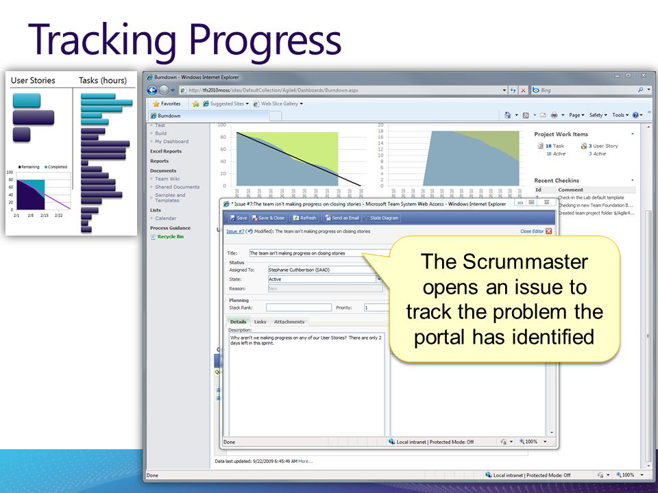 Tracking Progress The Scrummaster opens an issue to track the problem the portal has identified