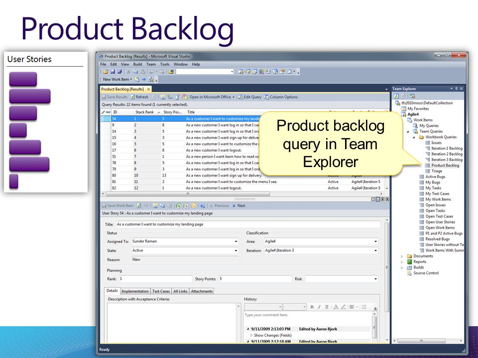 Product Backlog Product backlog query in Team Explorer