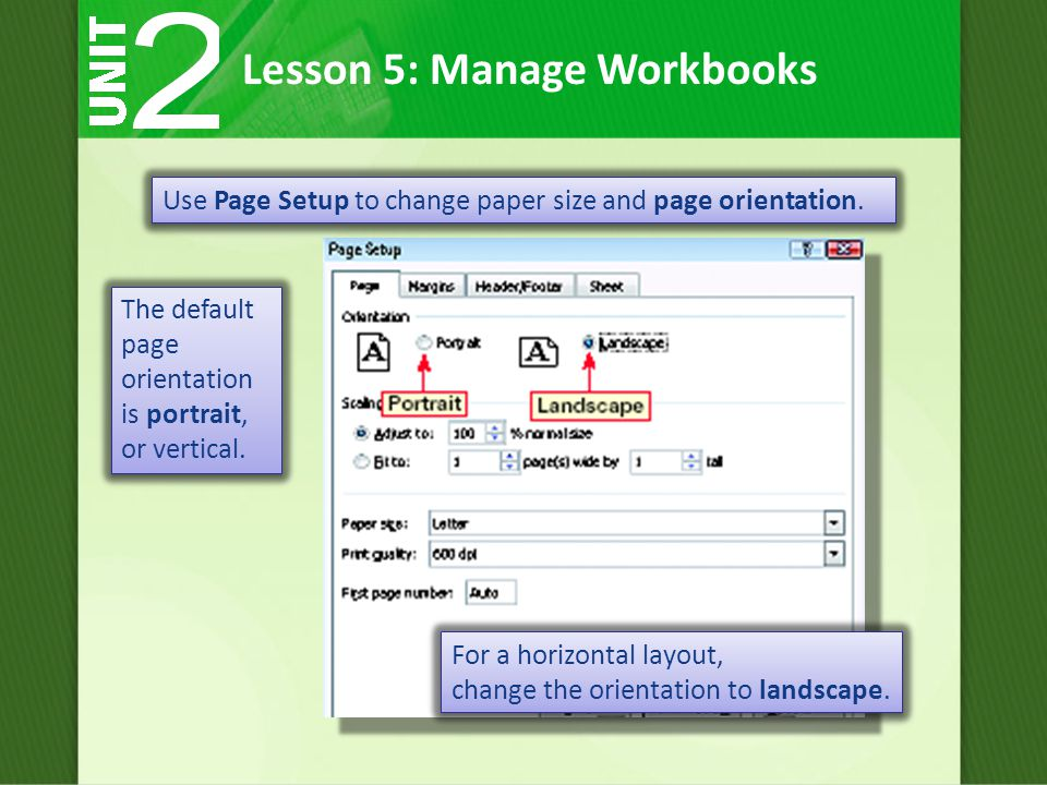 Use Page Setup to change paper size and page orientation.