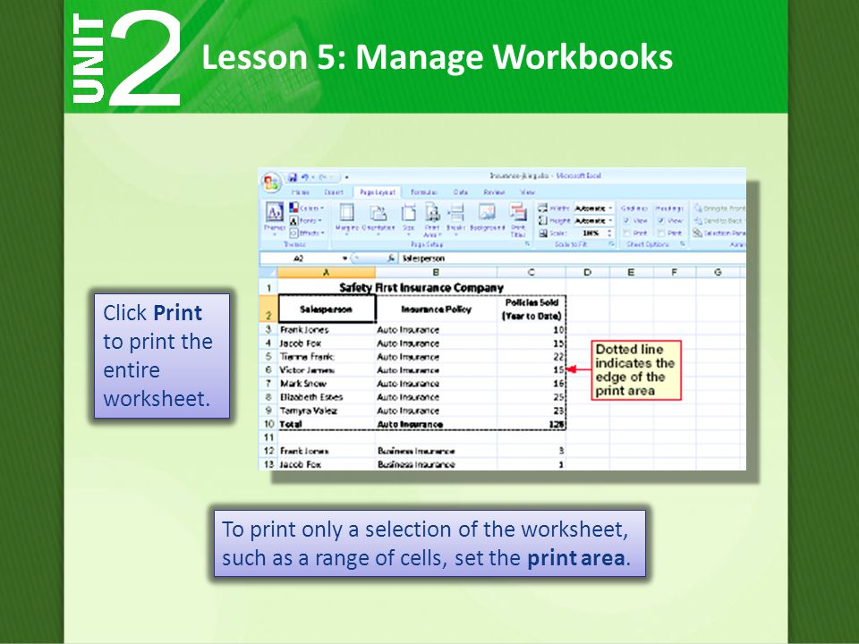 Click Print to print the entire worksheet.