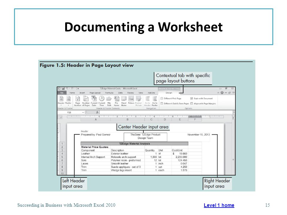 Documenting a Worksheet Succeeding in Business with Microsoft Excel 201015 Level 1 home