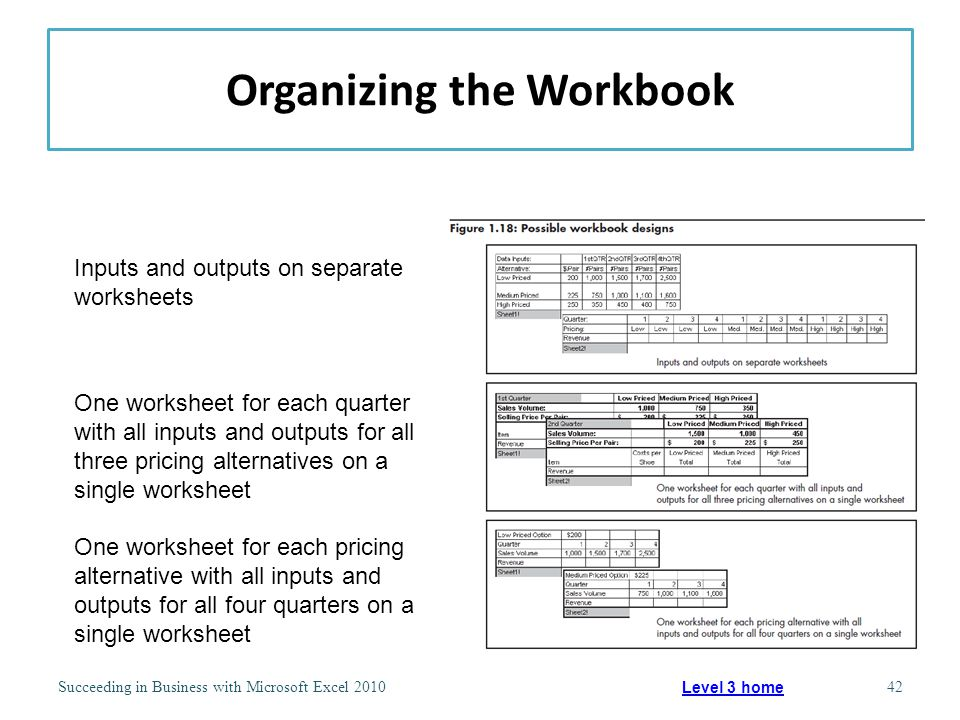 Organizing the Workbook Succeeding in Business with Microsoft Excel 201042 Level 3 home Inputs and outputs on separate worksheets One worksheet for each quarter with all inputs and outputs for all three pricing alternatives on a single worksheet One worksheet for each pricing alternative with all inputs and outputs for all four quarters on a single worksheet