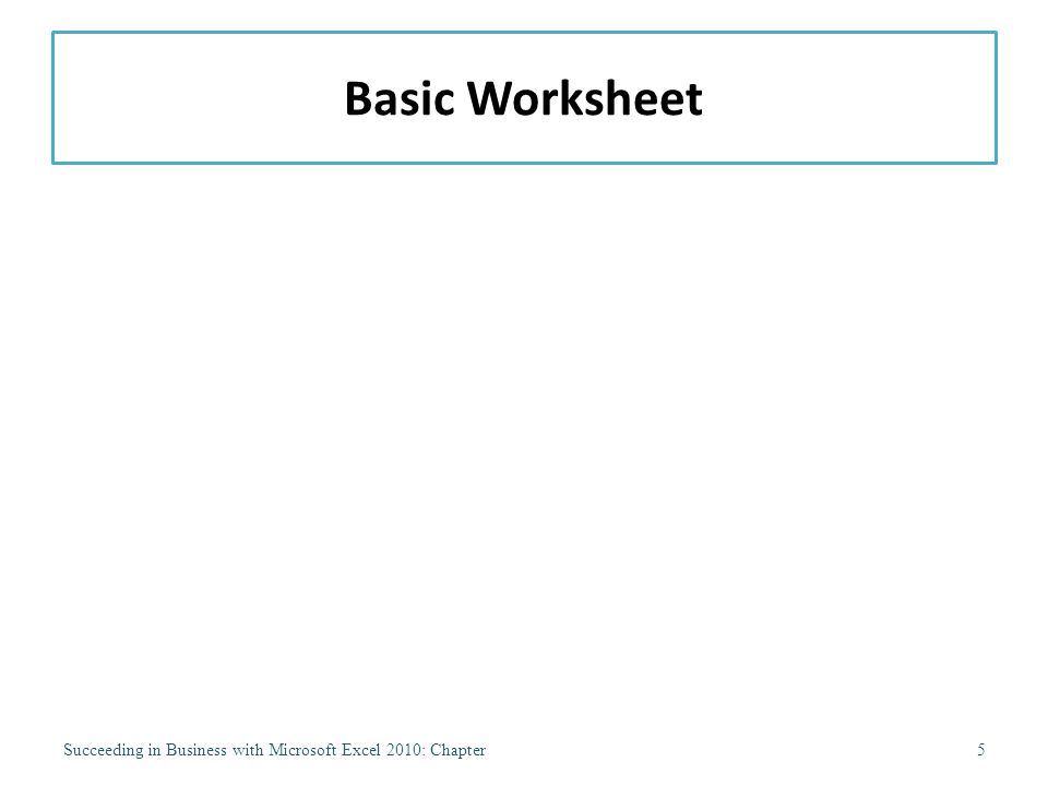 Basic Worksheet Succeeding in Business with Microsoft Excel 2010: Chapter5