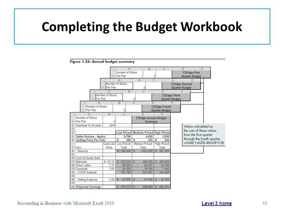 Completing the Budget Workbook Succeeding in Business with Microsoft Excel 201053 Level 3 home